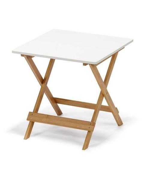 loomi.design Biely sklápací stolík s bambusovými nohami loomi.design Lora