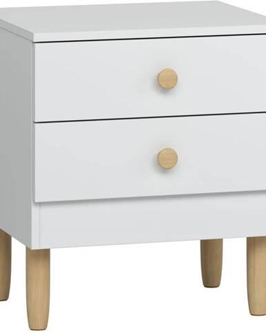 Biely nočný stolík s nohami z borovicového dreva Vox Boca