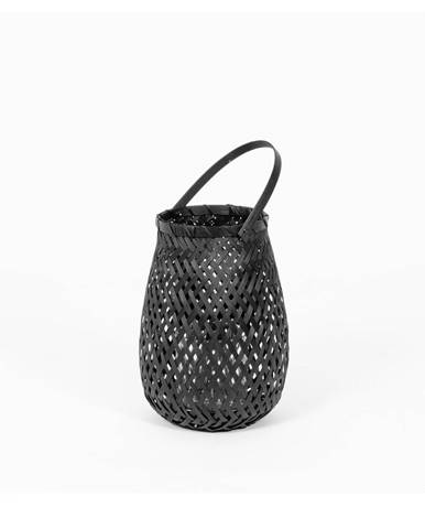 Čierny bambusový lampáš Compactor Bamboo Lantern, ⌀ 18 cm