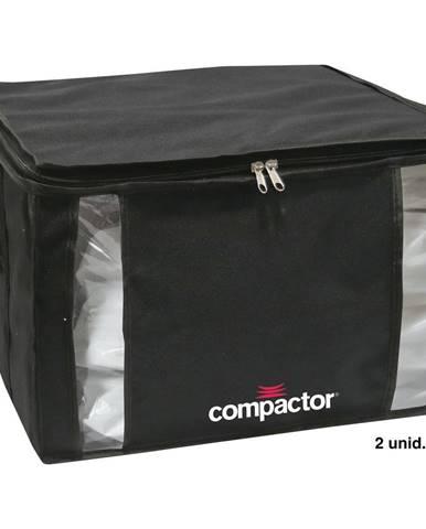 Čierny úložný box na oblečenie Compactor XXL Black Edition 3D Medium, 125 l