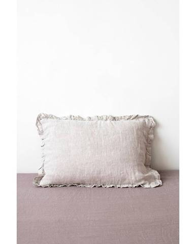 Prírodná ľanová obliečka na vankúš s riaseným lemom Linen Tales, 50 x 60 cm