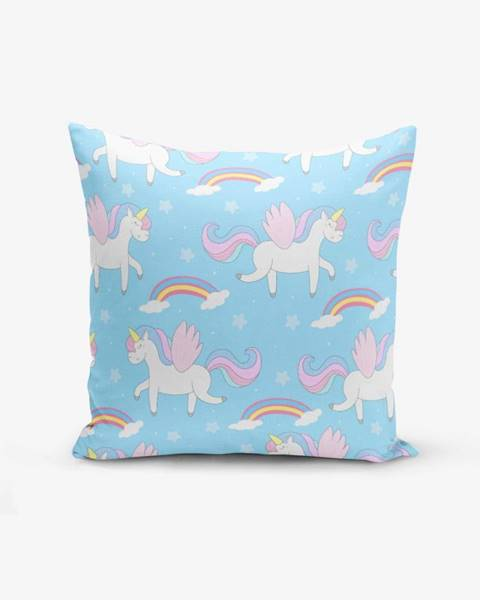 Minimalist Cushion Covers Obliečka na vankúš s prímesou bavlny Minimalist Cushion Covers Blue Background Unicorn Rainbows, 45×45 cm