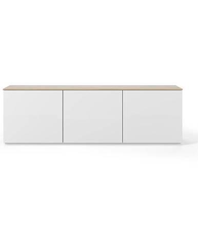 Biely matný televízny stolík s doskou v dekore dubového dreva TemaHome Join, 180 × 57 cm