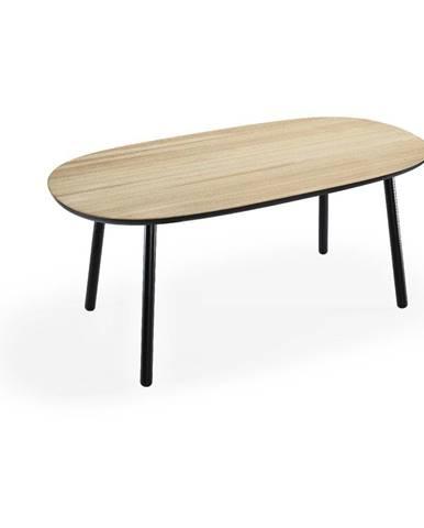 Jedálenský stôl z jaseňového dreva s čiernymi nohami EMKO Naïve, 180×90 cm