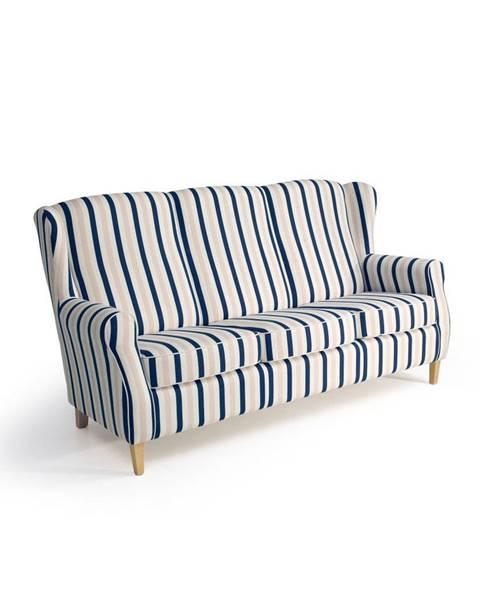 Max Winzer Modro-biela trojmiestna pruhovaná pohovka Max Winzer Lorris
