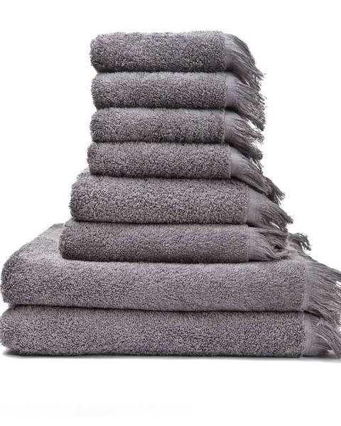 Bonami Súprava 6 sivohnedých uterákov a 2 osušiek zo 100% bavlny Bonami
