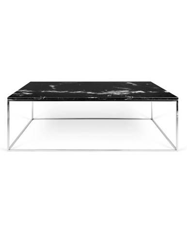 Čierny mramorový konferenčný stolík s chrómovými nohami TemaHome Gleam, 75x120cm