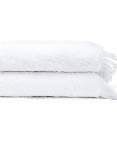 Súprava 2 bielych uterákov zo 100 % bavlny Bonami, 50 × 90 cm