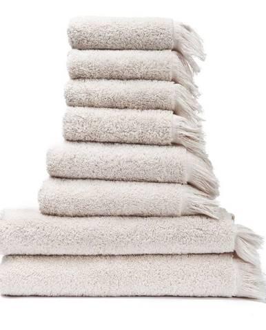 Súprava 6 krémovobielych uterákov a 2 osušiek zo 100% bavlny Bonami