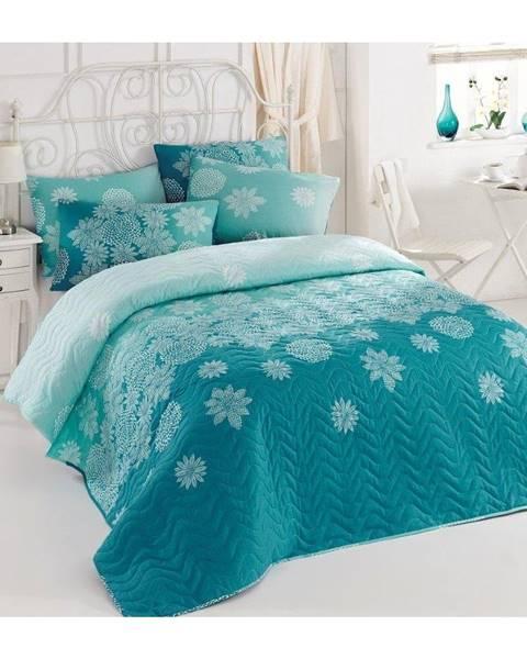 Eponj Home Ľahká prikrývka s obliečkami na vankúše Sima Turquoise, 200×220cm