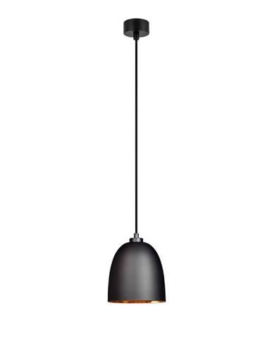 Čierne závesné svietidlo s vnútrom v medenej farbe Sotto Luce Awa Matte