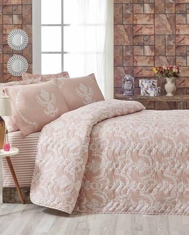 Ružový pléd cez posteľ na dvojlôžko s obliečkami na vankúše Livia, 200×220cm