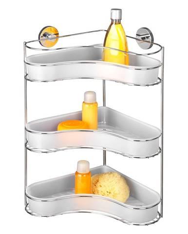 Samodržiaca trojposchodová rohová polička s miskami Wenko Vacuum-Loc, nosnosť až 33 kg