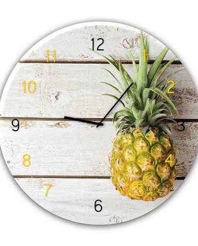 Nástenné hodiny Styler Glassclock Pineapple, ⌀ 30 cm