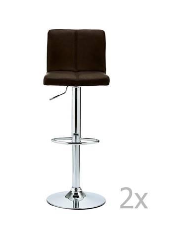Sada 2 barových tmavohnedých stoličiek FurnhoCoco