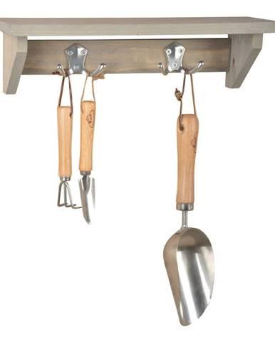 Nástenná polica s vešiakom z borovicového dreva Esschert Design Stanley, šírka 39 cm