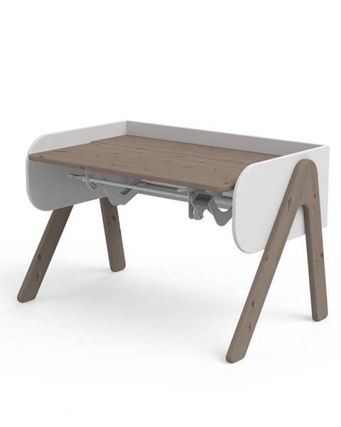 Flexa Tmavý hnedo-biely písací stôl z borovicového dreva s nastaviteľnou výškou Flexa Woody
