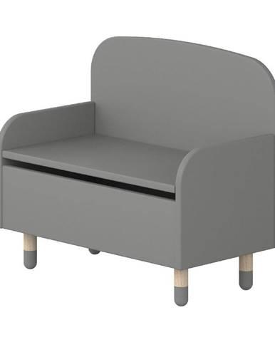 Sivá úložná lavica s opierkou Flexa Dots