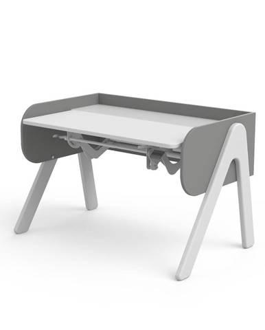 Sivo-biely písací stôl z borovicového dreva s nastaviteľnou výškou Flexa Woody