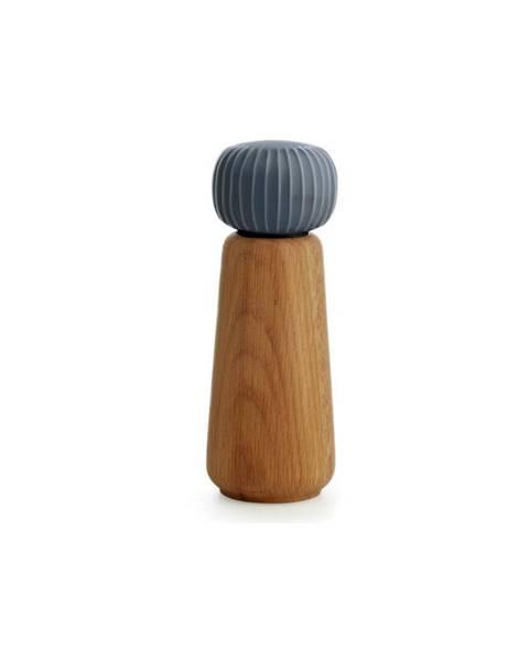 Kähler Design Mlynček z dubového dreva na korenie s antracitovosivým detailom z porcelánu Kähler Design Hammershoi, výška 17,5 cm