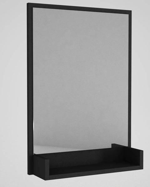 Tera Home Nástenné zrkadlo v čiernom ráme s poličkou Hanna