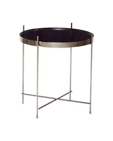 Čierny odkladací stolík so zrkadlovou doskou Hübsch Dorotea, ø 43 cm