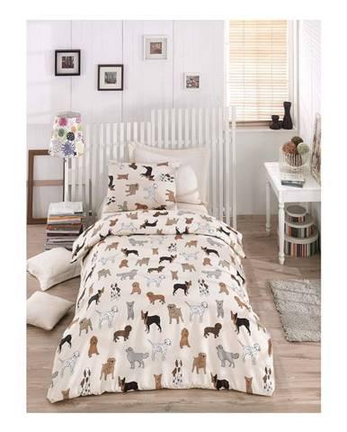 Obliečky s plachtou na jednolôžko Dogs Pack, 160 × 220 cm