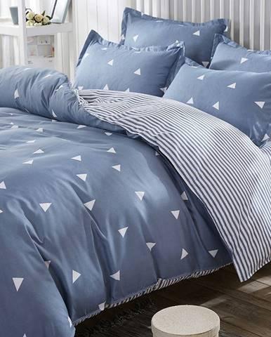 Obliečky s prímesou bavlny s plachtou na dvojlôžko Ucgen Blue, 200 × 220 cm
