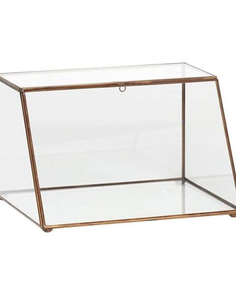 Hübsch Presklený úložný box s mosadznými detailmi Hübsch Dulio, výška 19 cm