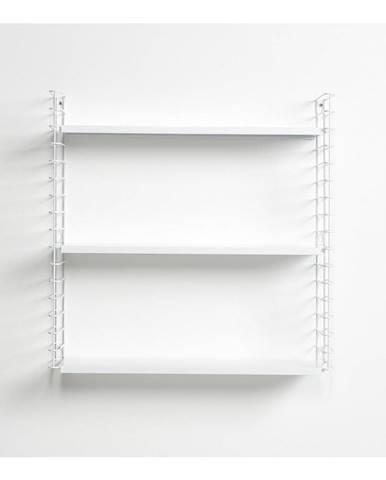 3-poschodový regál s bielymi policami Metaltex Libro, dĺžka 70 cm