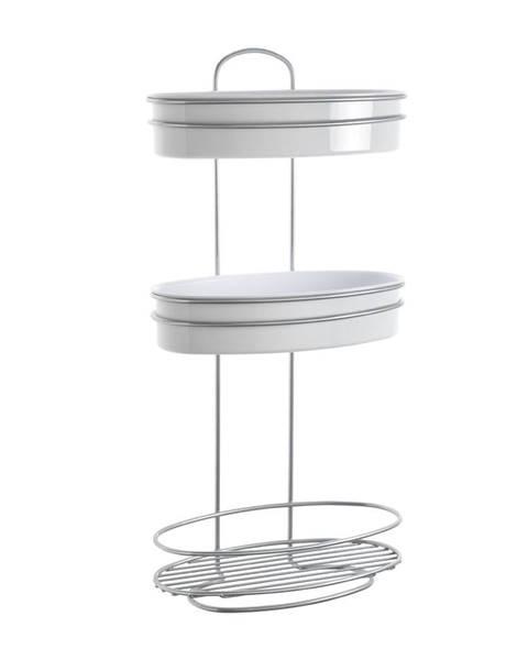 Metaltex Trojposchodová oválna polica s 2 misami Metaltex, dĺžka 26 cm