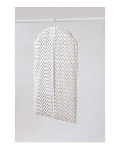 Biely textilný závesný obal na šaty Compactor Clear, dĺžka 100 cm