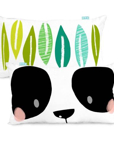 Bavlnená obojstranná obliečka na vankúš Moshi Moshi Panda Garden, 50×30cm