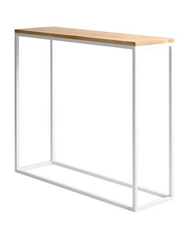 Biely konzolový stolík s dubovou doskou Custom Form Julita