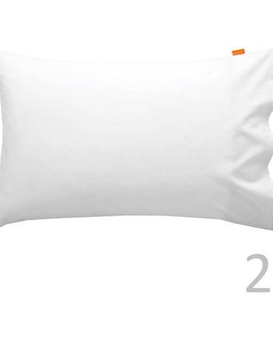 Súprava 2 bavlnených bielych obliečok na vankúš Happy Friday Basic, 50x75cm