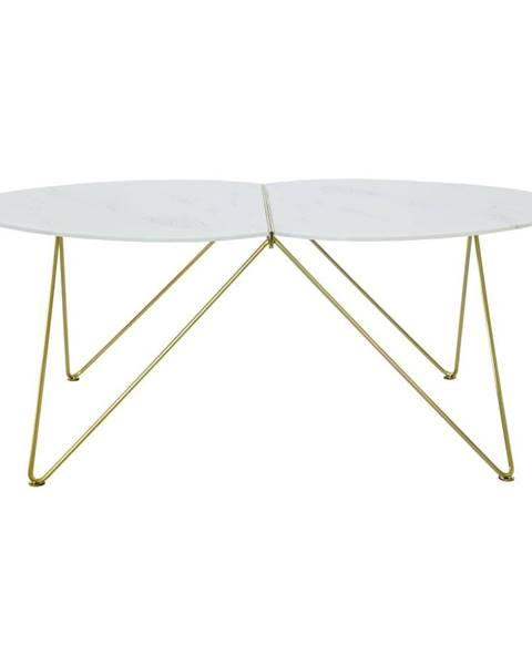 RGE Konferenčný stolík s dekorom mramoru a podnožím v zlatej farbe RGE Ant, dĺžka 116 cm