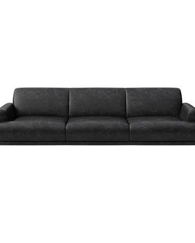 Čierna kožená pohovka MESONICA Puzo, 240 cm