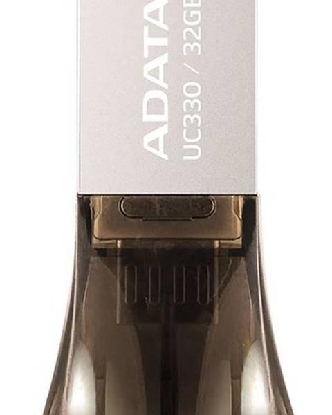 ADATA USB flash disk Adata UC330 32GB OTG Microusb/USB 2.0 hnedý