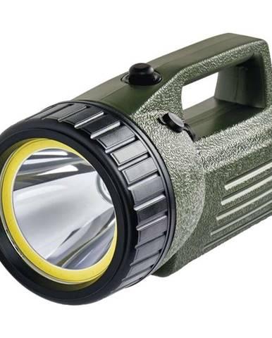 Lampáš Emos 10W COB LED + LED, 380 lm, aku 4000 mAh čierna/zelená