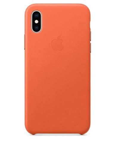 Kryt na mobil Apple Leather Case pre iPhone Xs - temne oranžový
