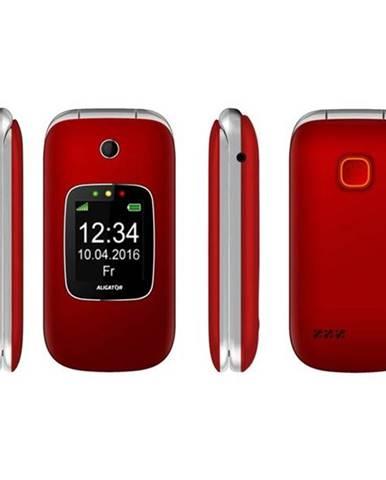 Mobilný telefón Aligator V650 Senior strieborný/červený