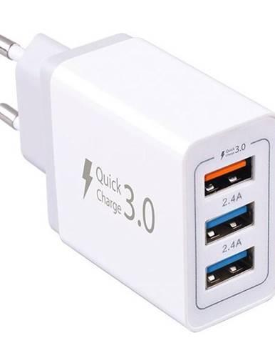 Nabíjačka do siete WG 3x USB, QC 3.0, 7,8 A biela
