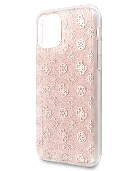 Guess Kryt na mobil Guess 4G Peony Glitter na Apple iPhone 11 ružový