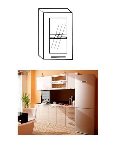 Kuchynská skrinka ľavá strieborné orámovanie/sklo ITA GW-40