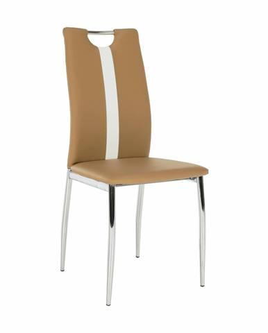 Stolička béžová/biela ekokoža/chróm SIGNA