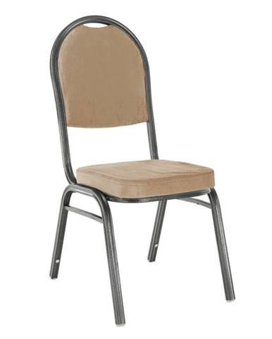 Stolička stohovateľná látka béžová/rám sivý JEFF 2 NEW