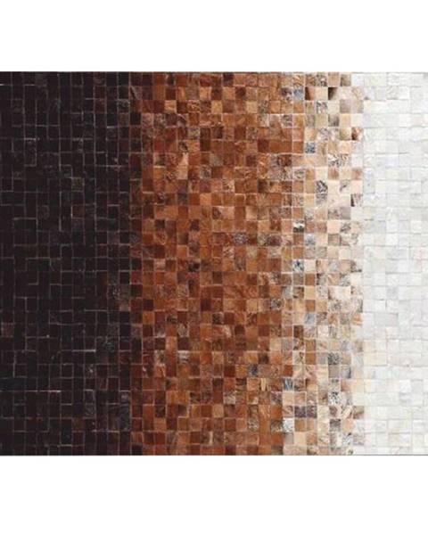Tempo Kondela Luxusný kožený koberec biela/hnedá/čierna patchwork 70x140 KOŽA TYP 7