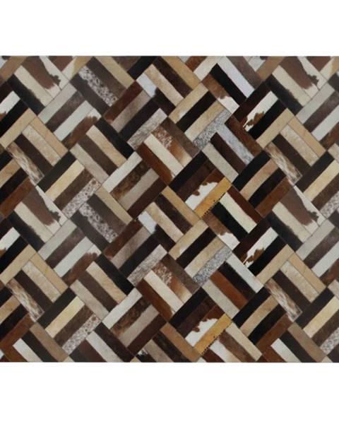 Tempo Kondela Luxusný kožený koberec hnedá/čierna/béžová patchwork 200x300  KOŽA TYP 2