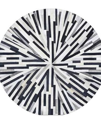 Luxusný kožený koberec čierna/béžová/biela patchwork 200x200 KOŽA TYP 8