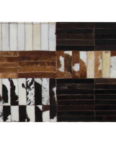 Luxusný kožený koberec čierna/hnedá/biela patchwork 69x140 KOŽA TYP 4